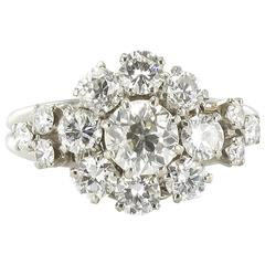 1930s French Platinum and Diamond Engagement Ring