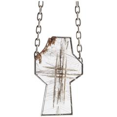 Munsteiner Rock Crystal Cross Rutlile Needles and Silver Chain Link Necklace