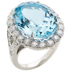 E Wolfe Blue Topaz Diamond Platinum Cluster Ring