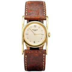 Patek Philippe Yellow Gold Horseshoe Style Driver's Wristwatch Ref 497