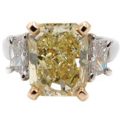 Natural Fancy Yellow Diamond Platinum Ring