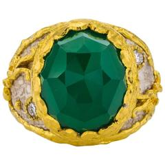 Victor Velyan Faceted Green Onyx Diamond Gold Ring