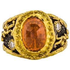 Victor Velyan Spessartite Garnet Diamond Gold Ring