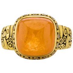 Alex Sepkus Sugar Loaf Cabochon Mandarin Garnet Yellow Gold Ring