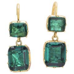 Georgian Green Paste Drop Earrings