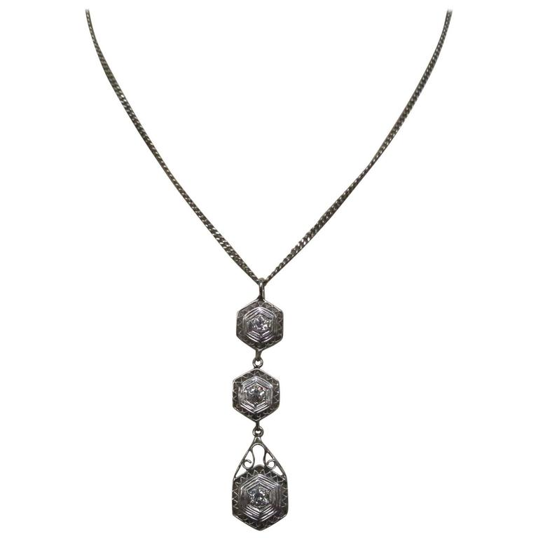 Art Deco Diamond Gold Necklace 1