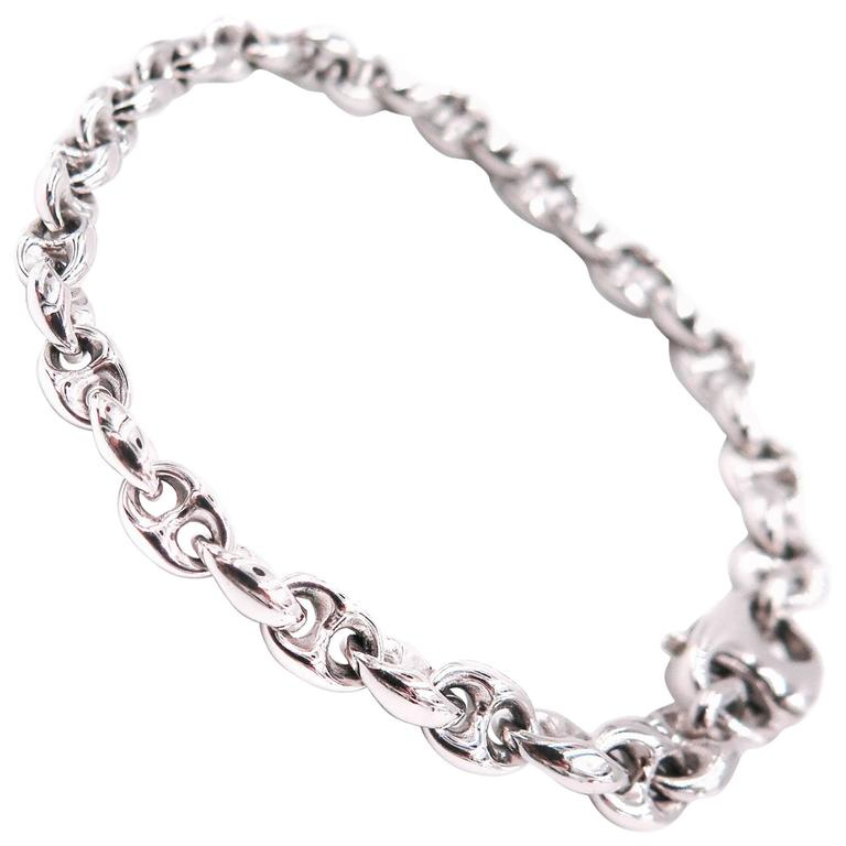 White Gold Marine Link Bracelet