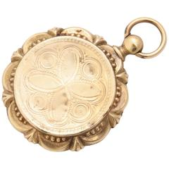 Victorian Gold Filled Round Locket with Scalloped Edges