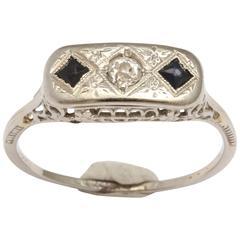 White Sapphire Diamond Gold Ring