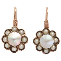 Rose Gold and Pearl Cluster Earrings