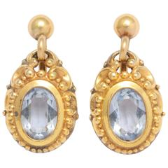 Aquamarine Gold Drop Earrings