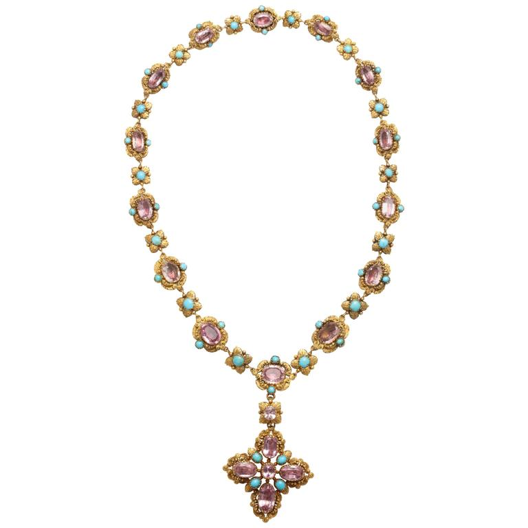Extraordinary Pink Topaz Turquoise Georgian Pendant Necklace 1