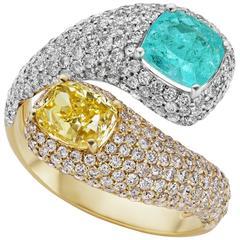 1.33 Carat Paraiba 1.35 Carat Yellow Diamond Cushion Cut Ring