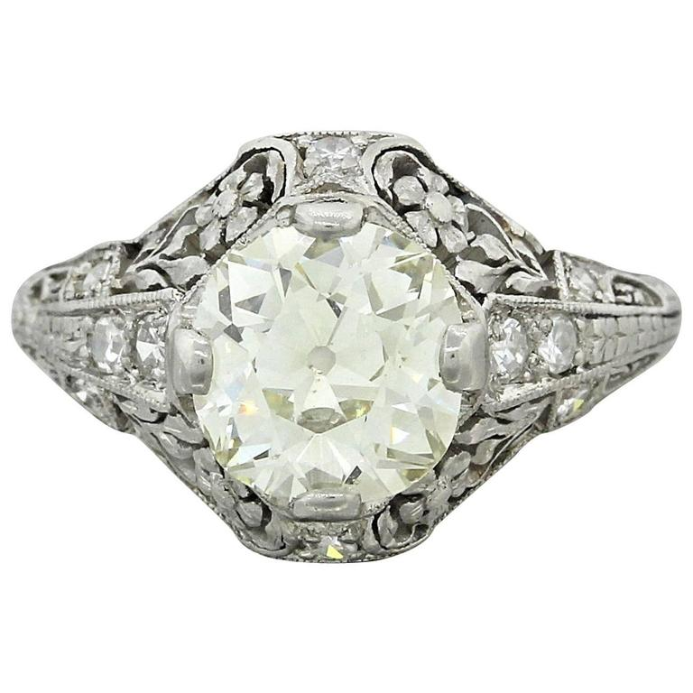 1920s Antique Art Deco 2 04 Carat Diamond Platinum Filigree Engagement EGL Ri