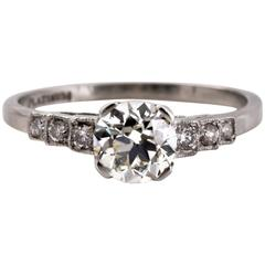 1910 Art Deco GIA Certified .87 Carat Diamond Platinum Engagement Ring