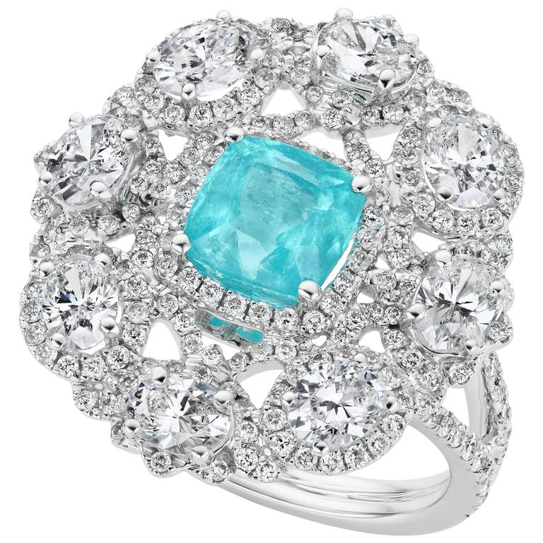 1.7 Carat Paraiba Tourmaline Diamonds Gold Ring 1
