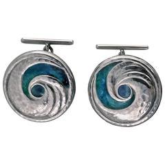 1902-1904 Liberty & Co. Archibald Knox Enamel swirl hammered silver Cufflinks