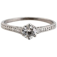 1910 Edwardian GIA Certified .33 Carat Diamond Platinum Engagement Ring