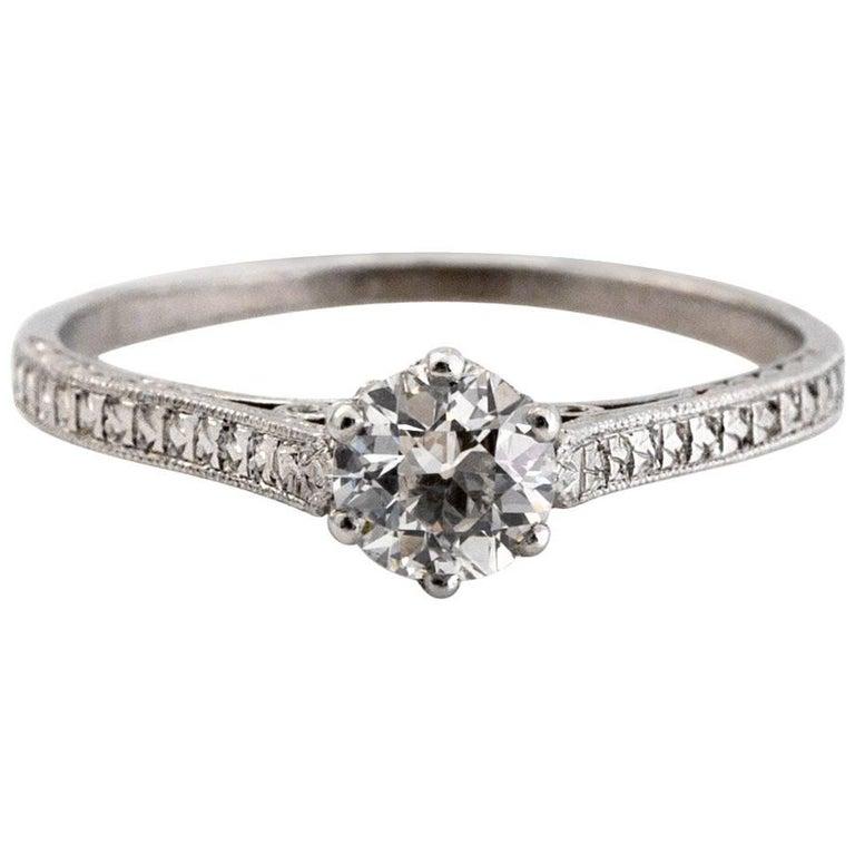 1910 Edwardian GIA Certified .33 Carat Diamond Platinum Engagement Ring For Sale