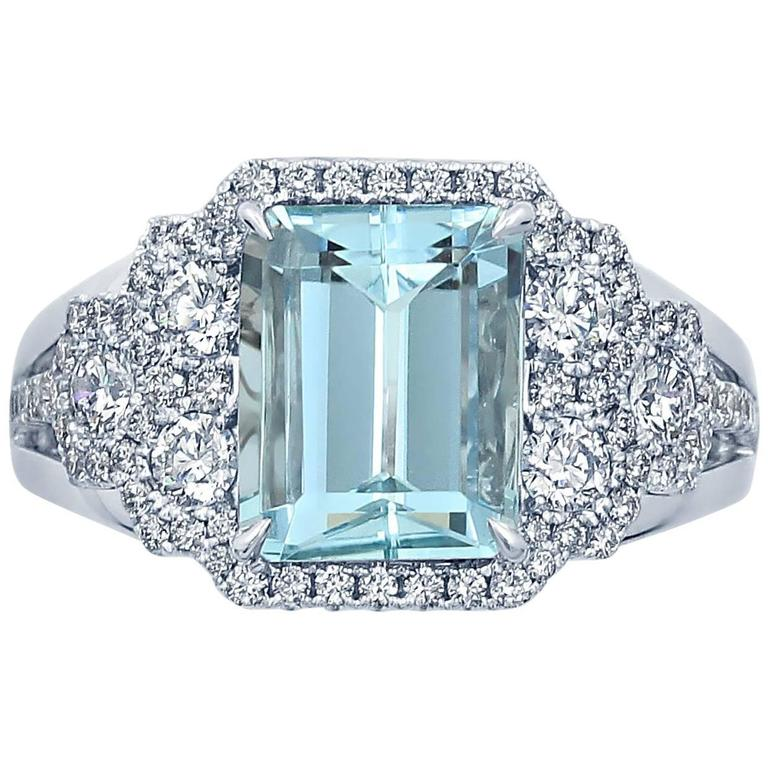 Frederic Sage Aquamarine Diamond White Gold Ring