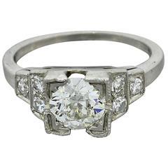 1940s Antique Art Deco .97 Carat EGL Old European Diamond Solid Platinum Ring