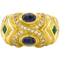 Ring 18 Karat Gold Ring with Sapphire, Emerald and Diamond