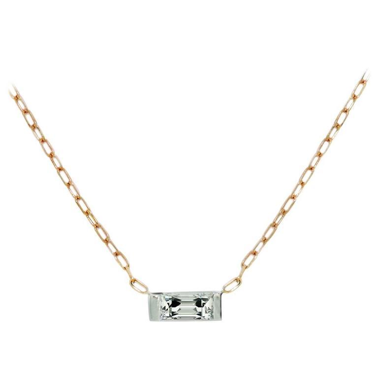 Lizunova Baguette Diamond 18 karat white & rose gold Pendant Necklace