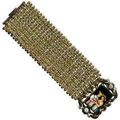 Late Georgian Swiss Enamel and Pinchbeck Bracelet