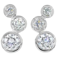 Lizunova White Diamond and White Gold Hudson Stud Earrings