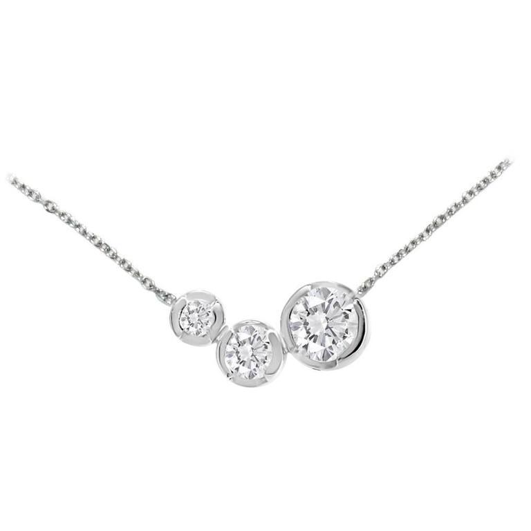 Lizunova Round White Diamond 18 Karat White Gold Pendant Necklace