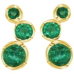 Lizunova Emerald Gold Hudson Stud Earrings