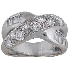 Diamond White Gold Crossover Engagement Ring