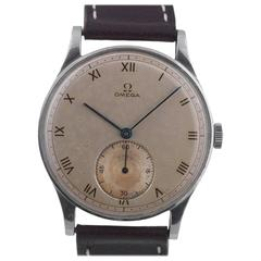 Omega Stainless Steel Large Silvered Dial Roman Numerals Manual Wind Wristwatch