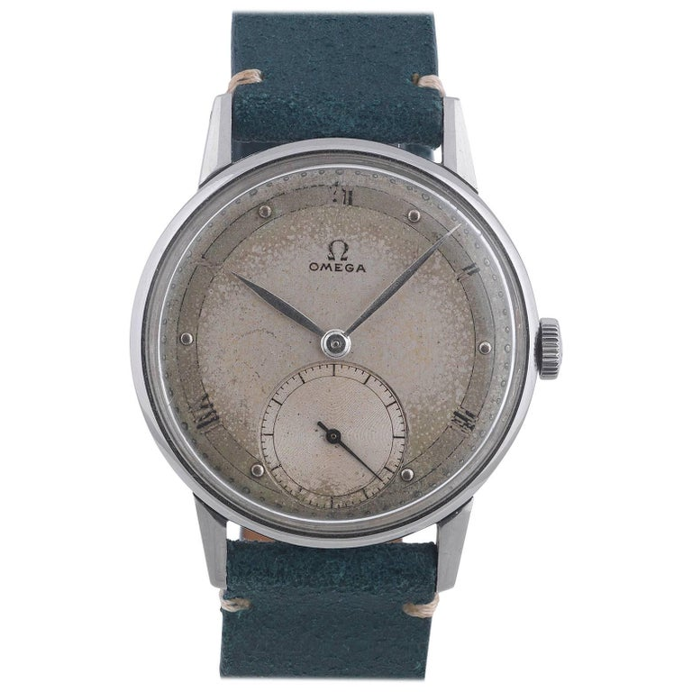 Omega Stainless Steel Applied Roman Numerals Manual Wind Wristwatch For Sale