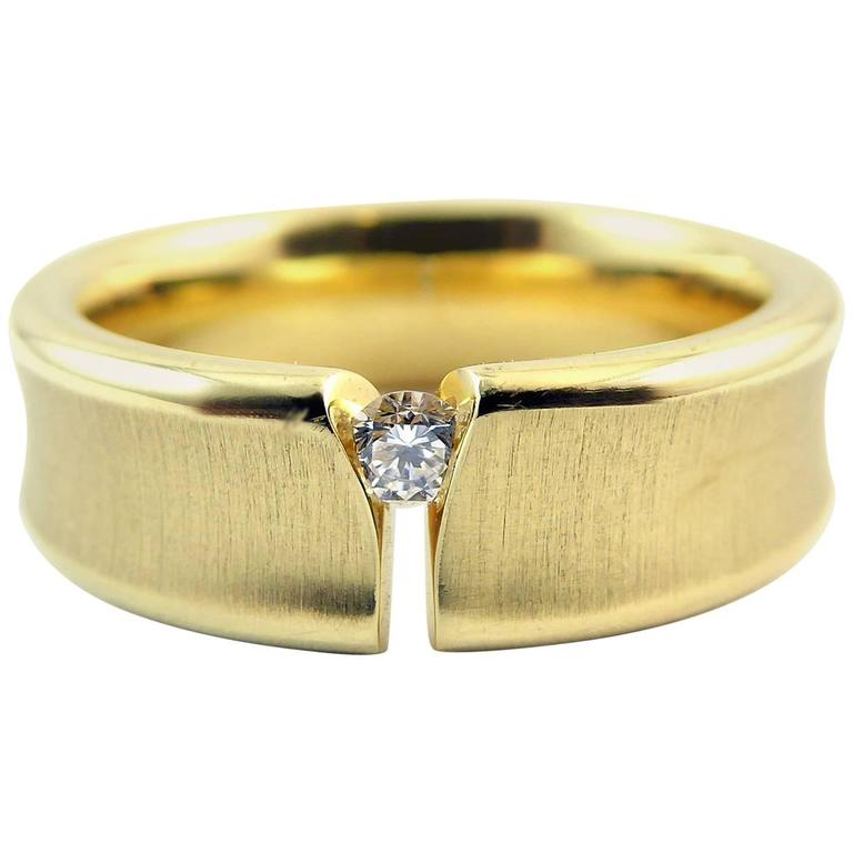 Contemporary Design Diamond Ring, 18 Carat Gold, Unisex Wedding Band