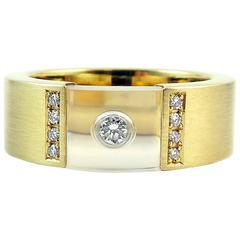 Diamond 0.15 Carat, Gold, Rock Crystal Ring, Bunz German Jewellery Designer