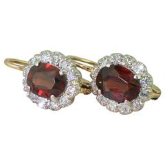Art Deco 2.20 Carat Natural Unheated Ruby and Diamond Cluster Earrings