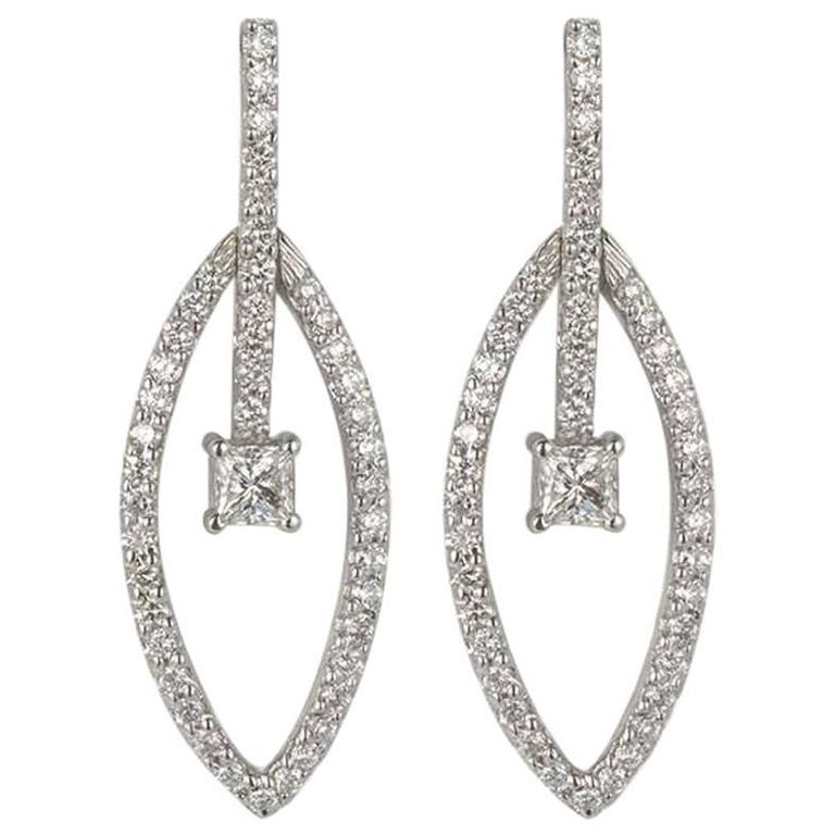 Round Brilliant and Princess Cut Diamond Drop Earrings