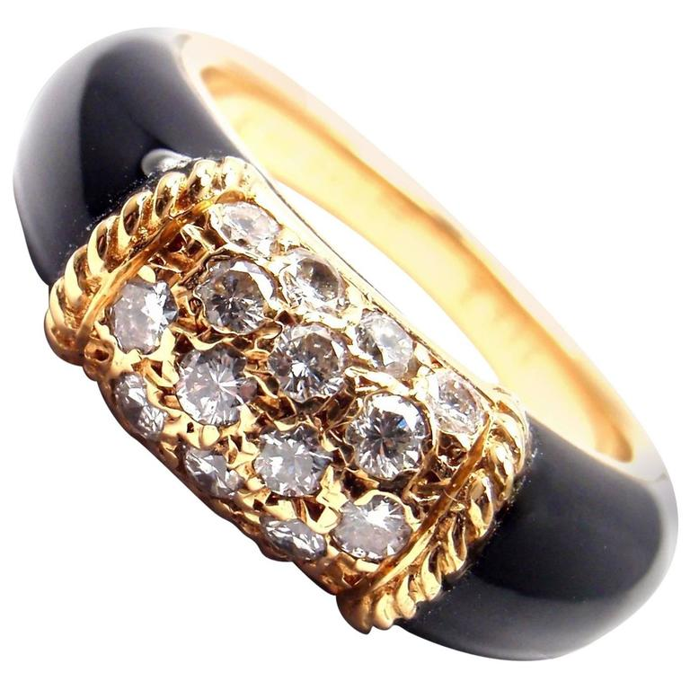 Van Cleef & Arpels Black Onyx Diamond Yellow Gold Band Ring For Sale