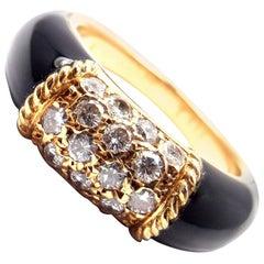 Van Cleef & Arpels Black Onyx Diamond Yellow Gold Band Ring