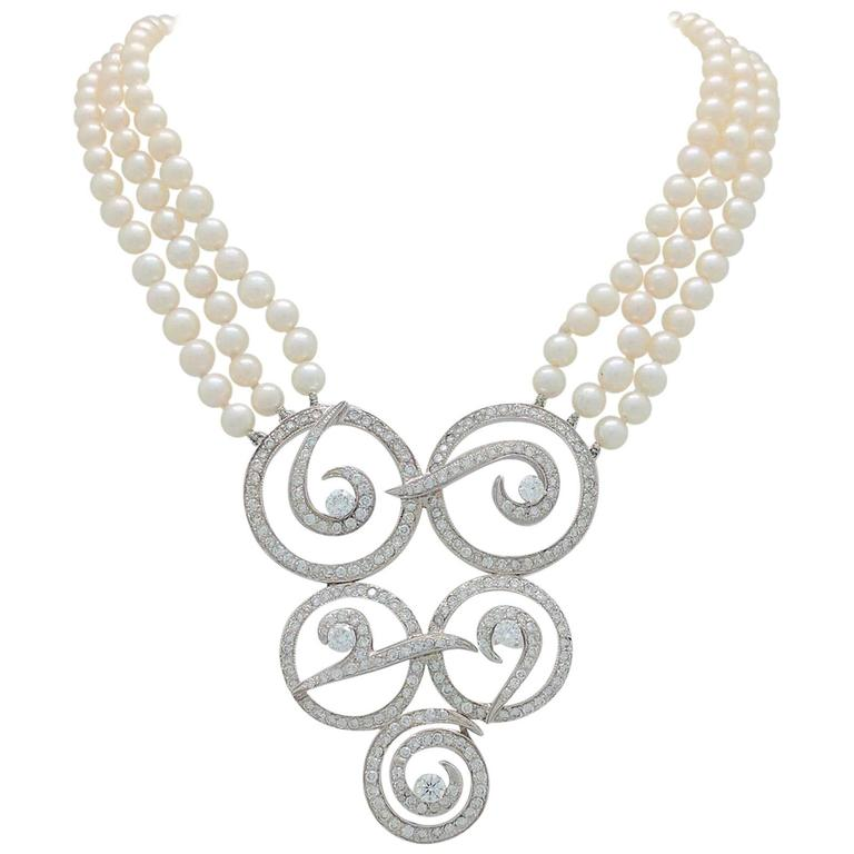 Multi Strand Cultured Akoya Pearl Diamond Enhancer Necklace 1