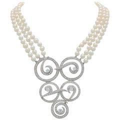 Multi Strand Cultured Akoya Pearl Diamond Enhancer Necklace