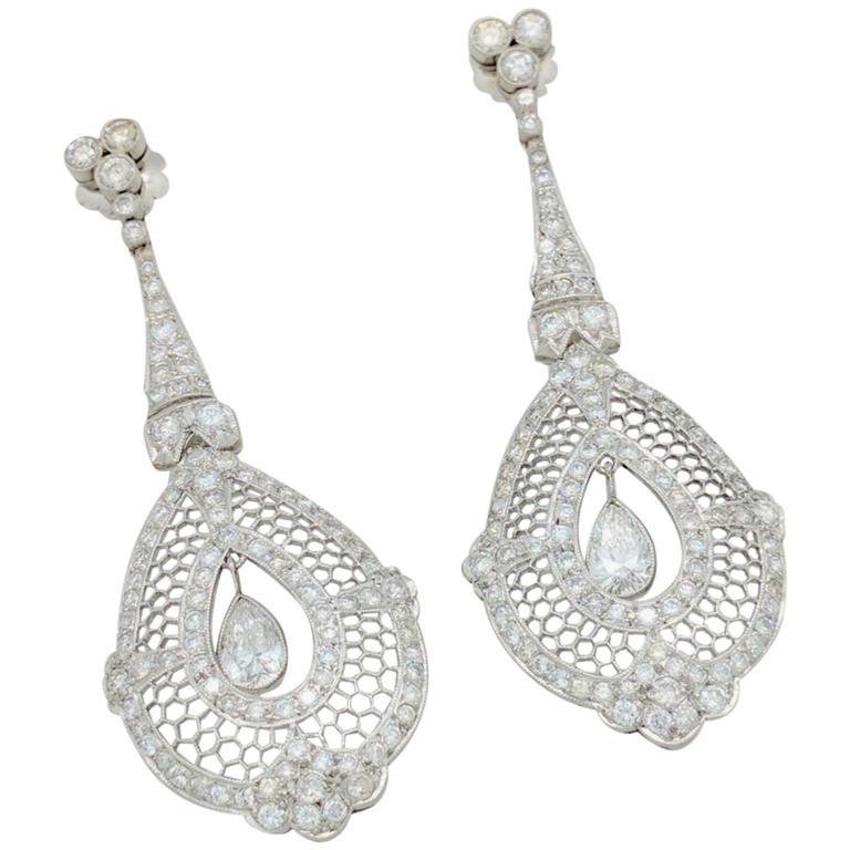 Art Deco Pear and Round Diamond Platinum Earrings
