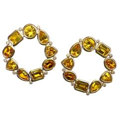 Michael Kneebone Citrine White Diamond Cirque Earrings
