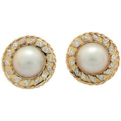 3.00 Carats Marquise Diamonds and Mabe Pearl Earrings