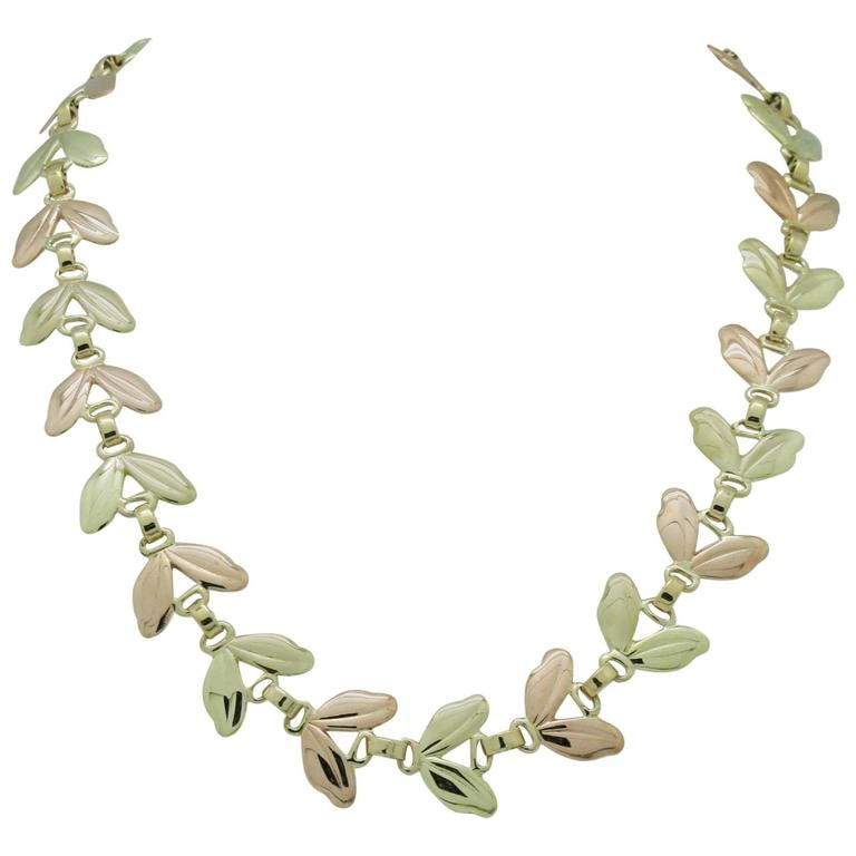 1950s Tiffany & Co. Pink and Yellow Gold Leaf Necklace 1