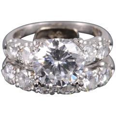 GIA Certified 3.027 Carat Round Brilliant Diamond Platinum Engagement Ring Set