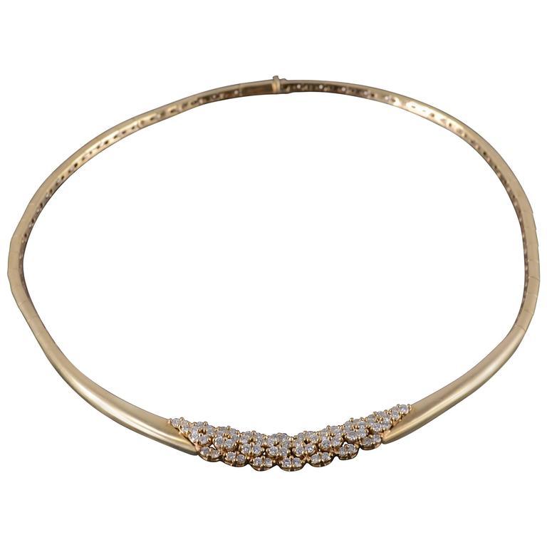 2.04 Carat Diamond Omega Link Heavy Choker Necklace