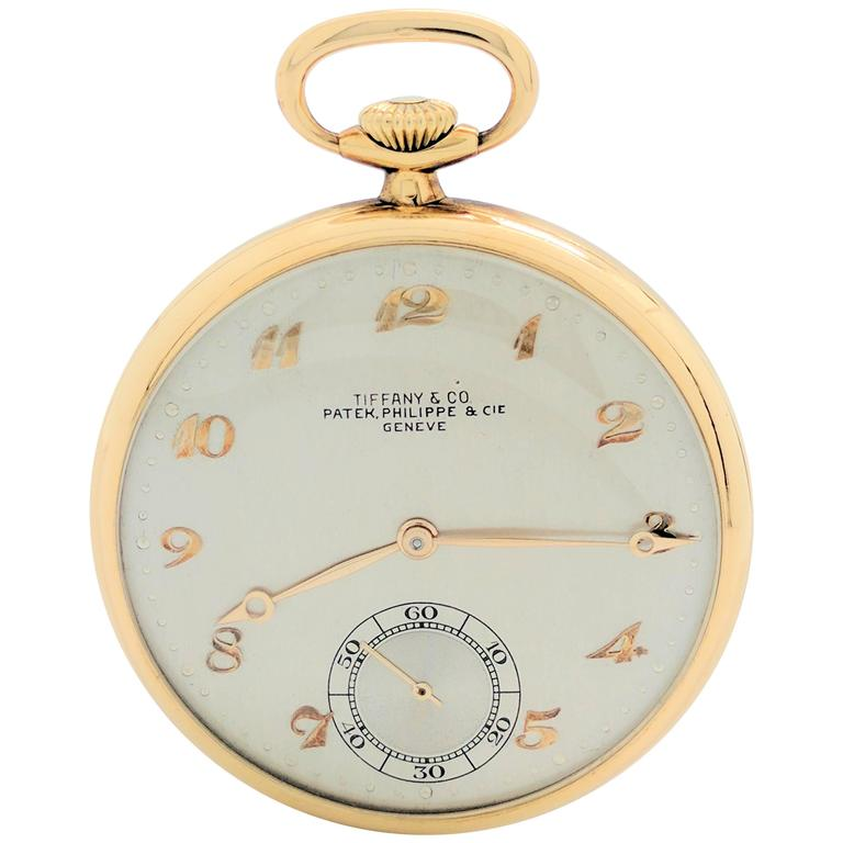 Patek Philippe for Tiffany & Co. Yellow Gold Pocket Watch, circa 1930s For Sale