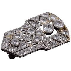 Diamond Art Deco Gold Pin